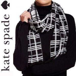 ♠️ Kate Spade plaid check reversible bow scarf
